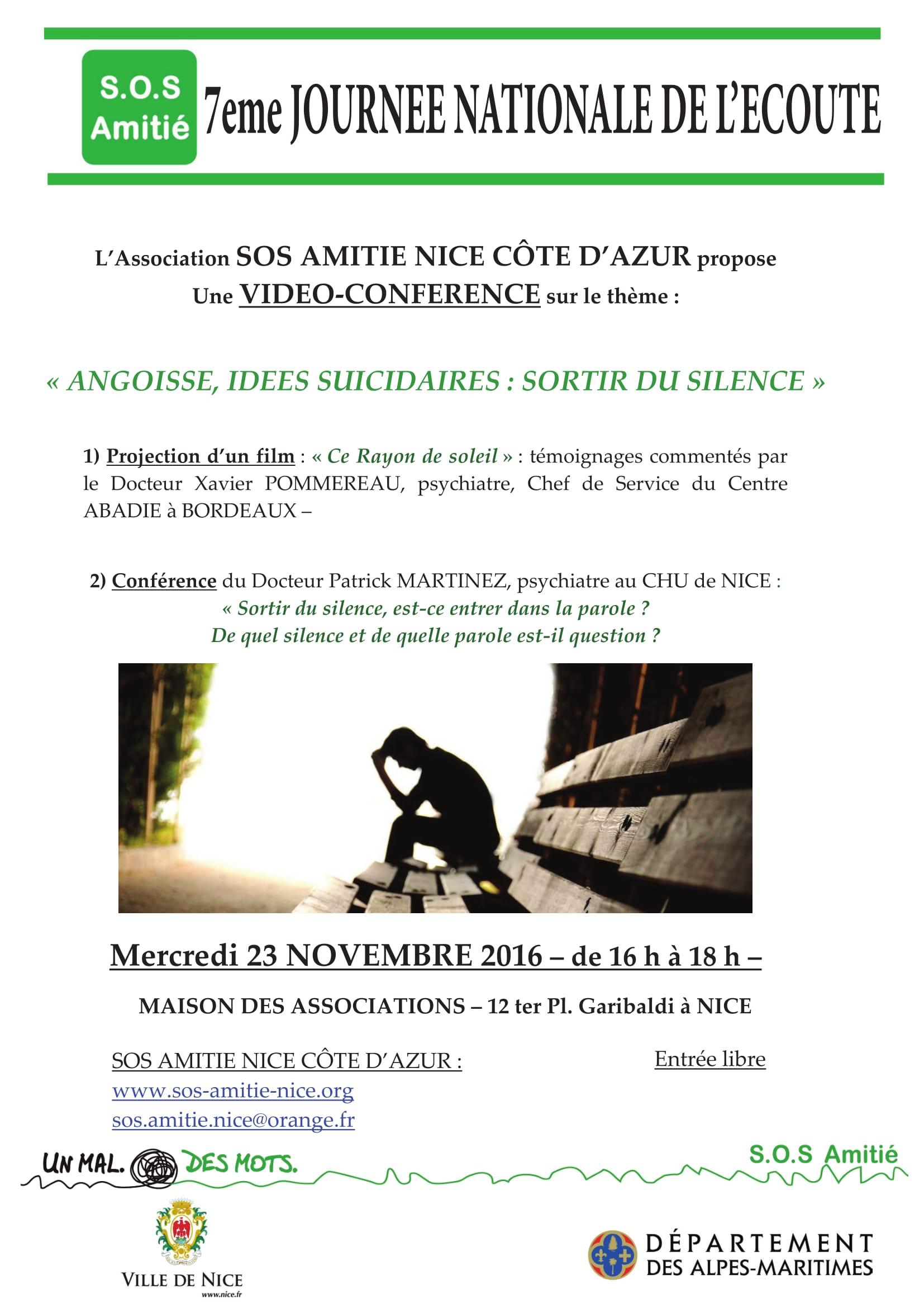 Angoisse, idées suicidaires - Conférence SOS Amitié
